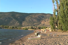 Okanagan beach on a lake Stock Footage