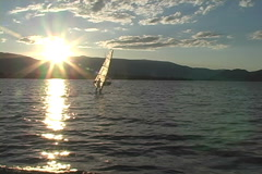 Okanagan sun and wind surfer Stock Footage