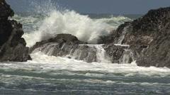 Oregon coast angry waves Seal Rocks Stock Footage