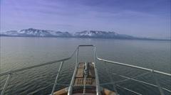 approaching mountain on lake tahoe - stock footage