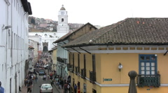 Quito street with a church Stock Footage