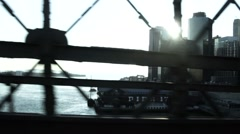 WS POV Subway train crossing East River with view of Manhattan Financial Distric Stock Footage