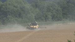 Combine harvester on rapeseed. Stock Footage