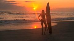 Sunrise Surf Girl Stock Footage