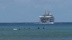 Waikiki swimmers and ship  Stock Footage