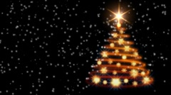 snowflakes falling on the xmas tree - stock footage
