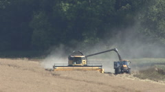 Combine harvester ends rapeseed unload. Stock Footage