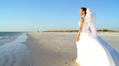 Bride in Wedding Dress on Beach Stock Footage