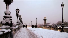 paris alexandre III bridge covered in snow - stock footage