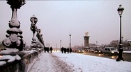 Paris alexandre III bridge covered in snow Stock Footage