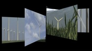 Stock Video Footage of CGI Computer animation, carrousel of wind turbines