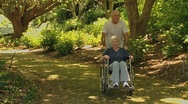 Man walking with a woman in a wheelchair Stock Footage