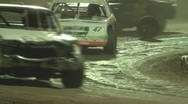 Stock Video Footage of Dirt track racing - Stock Car loses wheel
