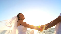 Wedding Couple at Sundown Stock Footage