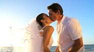 Bride & Groom Sharing a Kiss Stock Footage