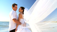 Bride & Groom on the Beach Stock Footage
