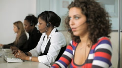 Female operators working in call center Stock Footage