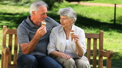 Old man enjoying icecream with his wife on a bench Stock Footage