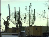 Radars at the military base Stock Footage