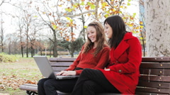 Two girls at the park with laptop. Stock Footage