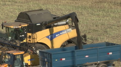 New Holland combine harvester finishes unloading rapeseed. Stock Footage