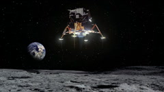 Stock Video Footage of Lunar Lander Approaches Moon's Surface