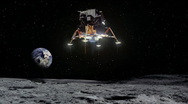 Lunar Lander Approaches Moon's Surface Stock Footage
