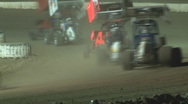 Stock Video Footage of Colorado dirt track racing - Winged Sprint