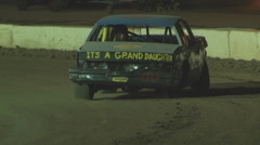 Colorado dirt track beginner stock car on three wheels Stock Footage
