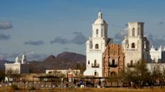 Tourists Visit San Xavier del Bac Mission Time Lapse Stock Footage