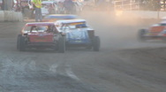 Stock Video Footage of Colorado dirt track racing - IMCA Modified Wreck