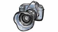 Digital camera - hand draw timelapse sketch Stock Footage