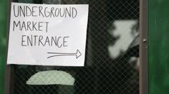CU Underground Farmers Market Sign Stock Footage