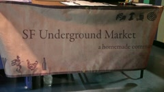 San Francisco Underground Farmers Market sign - stock footage