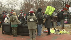 Anti-War protest of Obama at White House Stock Footage