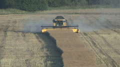 New Holland combine harvester finishing rapeseed harvest. Stock Footage