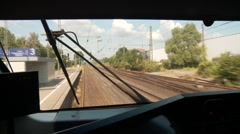 Train Cockpit View Stock Footage