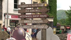 Ambleside Wooden Signs Stock Footage