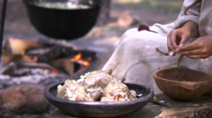 Old times cooking Stock Footage
