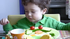 Breakfast for a Little Boy Stock Footage
