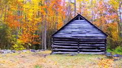 Historic cabin autumn 07 Stock Footage