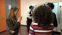Businesswomen having coffee break - stock footage