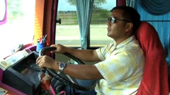 Tour Bus Driver In Thailand Stock Footage