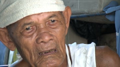 Blind Old Asian Man In The Slums Stock Footage