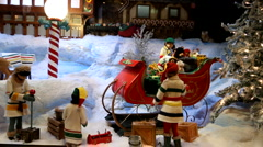Christmas holiday toy decoration shopping window display Stock Footage