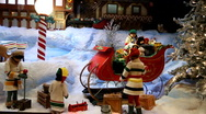 Stock Video Footage of Christmas holiday toy decoration shopping window display