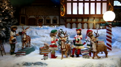 Christmas holiday toy decoration shopping window display - stock footage
