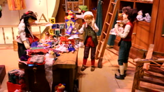 Christmas toy decoration shopping window display Stock Footage