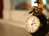 Antique desktop clock in interior Stock Footage