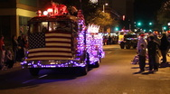 Stock Video Footage of Festival of lights parade - classic fire engines - 10
